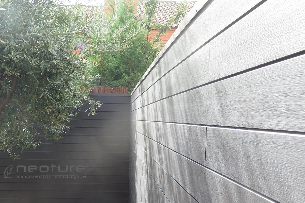 Cerramiento terraza en madera composite para medianeras - Suelo tecnico exterior ...
